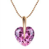 Romantic Time Full Love Heart For Women 18k Rose Gold Plated Chain Pendant Necklace