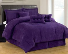 Grand Linen 7 PC Luxury Super Set, Solid Purple Suede Comforter Set/Bed in Bag - Queen Size Bedding
