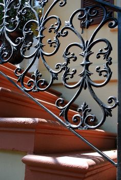 How beautiful wrought iron banisters are.
