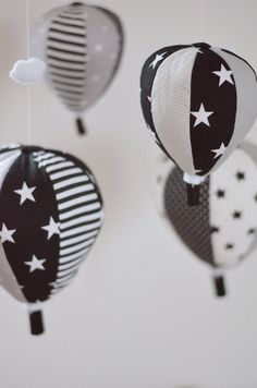 Black and white Baby Mobile Hot Air by SewManUniverseMaster