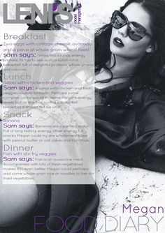 Leni's Model Management Food Diaries : MEGAN Whole Grain Wheat, Model Diet, Food Diary, S Models, Feel Good, Life Is Good, Meal Planning, Healthy Lifestyle, Healthy Eating