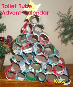 How to make an Advent Calendar from recycled cardboard tubes and wrapping paper #makeanadventcalendar #kidscreativechaos