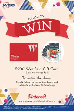 #WIN $200 Wesfield Gift Card + an Avery Prize Pack! It's so easy to enter! To enter the draw: Simply follow the Competition board AND the Celebrate with Avery Pinterest page >> https://www.pinterest.com/celebrateavery Hurry, ends 11th of June 2015 at 5pm (AEST). View the T&Cs: http://on.fb.me/1HNh1CU #followtowin #win #competition #prize