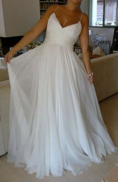 159 usd.Long White Chiffon Beach Wedding Dresses Spaghetti Straps A-line Bridal Dresses Gowns