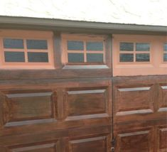 We recently painted our house and so our garage door needed to be painted as well. I decided not to repaint it because I was hoping the old rust paint would sho… Unique Garage Doors, Garage Door Colors, Garage Door Paint, Carriage Garage Doors, Garage Door Hardware, Garage Door Styles, Garage Door Makeover, Wood Garage Doors, Porch Doors