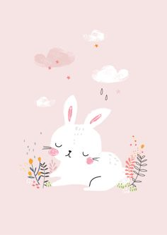 This is Gold - Aless Baylis for Menudos Cuadros #bunny #rabbit #spring #illustration #floral #menudoscuadros