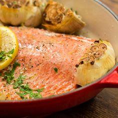 Le Creuset Recipes - Baking Dish, Recipe Created For: Baking Dish Dutch Oven Cooking, Dutch Oven Recipes, Cast Iron Cooking, Cooking Recipes, Salmon Recipes, Fish Recipes, Seafood Recipes, Recipies, Braiser Recipes