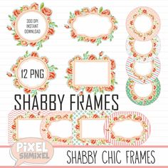 Digital Shabby Frames Clipart Chic Tags Clip Art Labels Stickers Mothers Day