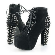 Womens Spike Studded Goth Punk Rock Platform High Heel Shoes Lace Up... ❤ liked on Polyvore featuring shoes, boots, ankle booties, lace up ankle boots, lace up booties, gothic platform boots, platform boots and short boots