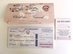 invitation de mariage voyage avec billet et carte d'embarquement Faire Part Invitation, Wedding Candy, Wedding Invitations, Bullet Journal, Camille, Wedding Stuff, Scrapbooking, Weddings, Travel