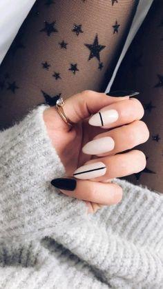 Almond Nails Designs, Black Nail Designs, Acrylic Nail Designs, Simple Nail Designs, Chic Nails, Stylish Nails, Trendy Nails, Almond Acrylic Nails, Cute Acrylic Nails