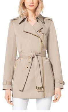 Michael Kors Asymmetrical Zip-Front Trench Coat