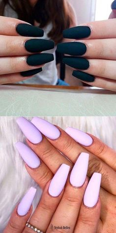 Coffin Nails Ideas That Suit Everyone Cute Black & Purple Matte Coffin Nails!Best Coffin Nails Ideas That Suit Everyone Cute Black & Purple Matte Coffin Nails! Coffin Nails Matte, Best Acrylic Nails, Summer Acrylic Nails, Matte Purple Nails, Black Nails, Matte Black, Fantastic Nails, Long Nails, My Nails