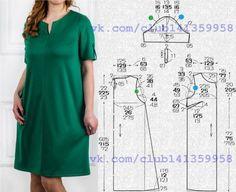 Платье прямого силуэта, с короткими рукавами с патами. Выкройка на размеры 40/42, 44, 46/48 (рос.). #простыевыкройки #простыевещи #шитье #платье #выкройка