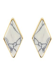 Artificial Turquoise Geometric Earrings - WHITE  Mobile