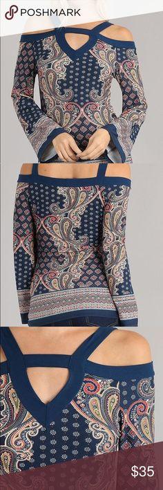 Paisley Print Cold Shoulder Top Dark navy blue paisley print long sleeve top. Yoyo 5 Tops Blouses