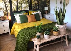 Shop the look: prachtige groen-gele slaapkamer - #shop-the-look #slaapkamer #interieur #homedeconl