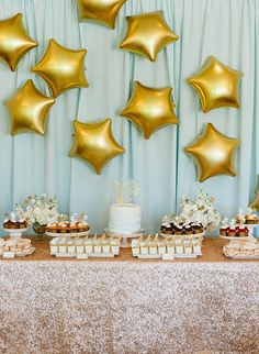 The cutest Twinkle Twinkle Little Star Baby Shower with gold sequin linens, gold star balloons, and a kid friendly dessert bar! - Inspired By This