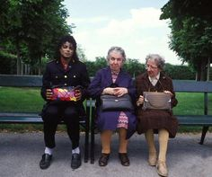 Just Michael Jackson sit on a bench with two old ladies #regularday