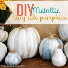 DIY Halloween: DIY metallic fairy tale pumpkins: DIY Halloween Decor check out www.FreetailTherapy.com for more Halloween ideas.