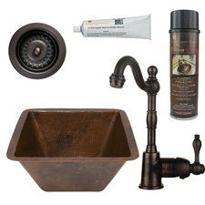 """15"""" x 15"""" Square Hammered Copper Bar Sink with Faucet"""