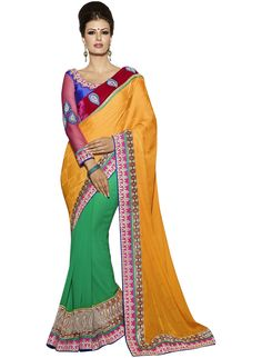Buy Green and Yellow Jacquard Half and Half Saree (CODE:BLR0202479) online from India - IndusDiva.com