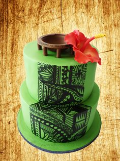 A 21st Cake with a traditional Samoan Ta Tau, with a Kava bowl and of course, a hibiscus.