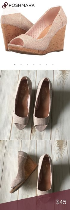 Toms Pink Stella Cork Wedges Super cute pale pink wedges in excellent like new condition. Woven linen like material and cork bottoms. Toms Shoes Wedges