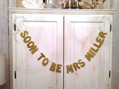 Custom Soon-To-Be-Mrs Bachelorette Party Decoration / Bridal Shower / Photo Prop. $30.00, via Etsy.