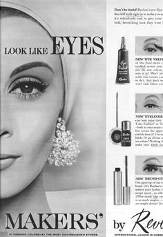 Made my eye color look alive! 1960s Makeup, Vintage Makeup Ads, Retro Makeup, Old Makeup, Vintage Beauty, Vintage Ads, Vintage Soul, Vintage Glamour, Beauty Ad