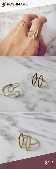Delicate Gold Plated Minimalist Rings Chic and dainty gold plated rings. Minimal jewelry that's a part of my Geo Capsule. Choice of square or an unique ovalish shape as seen in pictures. Very delicate. Adjustable. Beautiful paired with any outfit. Simple yet eye catching. HJ Designs Jewelry Rings