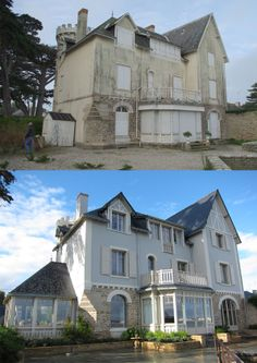 Réhabilitation d'une maison de style en bord de mer Old Home Remodel, Attic Remodel, Facade House, House Exteriors, Before After Home, Exterior Makeover, Build Your Own House, Exterior Remodel, Plantation Homes