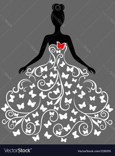 Illustration of Vector silhouette of young woman in elegant wedding dress vector art, clipart and stock vectors. Elegant Wedding Dress, Designer Wedding Dresses, Diy And Crafts, Arts And Crafts, Clip Art, Silhouette Art, Dress Silhouette, Ballerina Silhouette, Wedding Silhouette