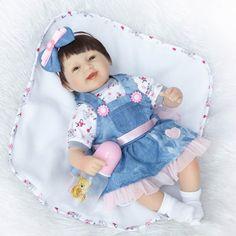 "59.19$  Watch here - http://alii34.worldwells.pw/go.php?t=32761296308 - ""Adorable fake baby reborn dolls 18"""" soft cloth body silicone reborn girl dolls children gift  bebe doll reborn bonecas"" 59.19$"