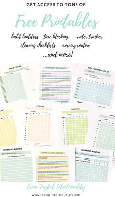 Get organized with tons of free printables | habit builder | morning routine | water tracker | time blocking