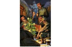 A vintage colour illustration titled 'Christmas in the Field' showing happy German soldiers smoking, drinking and playing the accordion around a Christmas tree in the trenches, c1915, the year after the Christmas truce. (Photo by Popperfoto/Getty Images)truce 'confuses understanding' of first world war