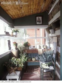 My back porch has the exposed log walls.. I like this idea