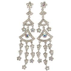 """1 x 4.5"""" Estate Earrings, ab accents in Crystal with Silver Tone finish"""