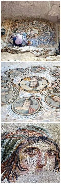 "Mosaics from the 2nd century BC that were recently discovered in the ancient Greek city of Zeugma, located in the present-day Gaziantep in southern Turkey. The excavation of the ancient city of Zeugma, near the town of Nizip in Gaziantep Province, has uncovered some remnants of sculptures, coins, mosaics and more. Most of this year's work took place on a hill known as Belkıs Tepe. ""We found some parts of cult-related sculptures on Belkıs Tepe"