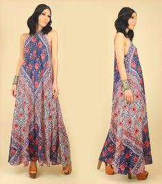 Vintage Boho dress 90s does 70s Denim Embroidery short sleeve Caftan Afghan Kuchi style dress Tribal Small Medium Size S M Bust 34