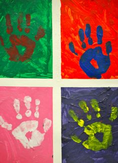 Art:  Andy Warhol Pop Art.  Divide a 12x18 piece of multi-media paper or illustration board into quarters using painter's tape (Aaron Brother's has a great art tape).  The students paint each square a different color (use acrylic paint); handprints should be done in contrasting colors to the squares.