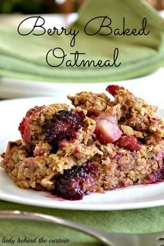 Berry Baked Oatmeal- I made this last night for dessert when we were having breakfast for dinner, it says it serves 6-8 but my family of 4 (not counting baby) were scraping the dish clean.  Definitely a keeper!