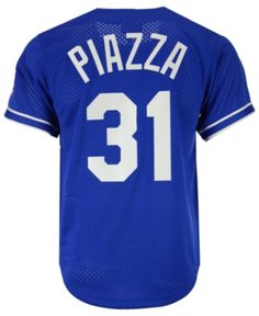 Mitchell   Ness Men s Mike Piazza Los Angeles Dodgers Authentic Mesh  Batting Practice V-Neck Jersey - Blue M 2636ab68d