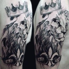 Male Hairy Lion With Crown Tattoo On Arms
