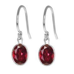 2 Carat Ruby Oval Bezel Dangle Earrings by ElizabethJewelryInc, $19.99