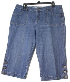 Christopher & Banks Petites Woman`s Denim Capri Jeans Cotton Button Hem Size:12P #ChristopherBanks #PedalpusherCapriCropped