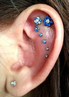 Ear piercing jewelries with floral patterns for helix piercing - More Gallery @ http://wp.me/p3zqJ1-qv