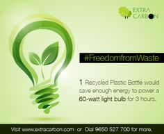 #DidYouKnow: 1 recycled plastic bottle would save enough energy to power a 60-watt light bulb for 3 hours.