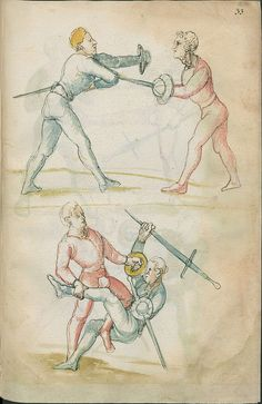 The 16th century manuscript, listed simply as: 'Fechtbuch: Libr. pict. A 83' is hosted by the State Library of Berlin. This fencing manuscript, made from paper*, was produced in the early 1500s in the Bavarian city of Nuremberg. There is next to no online commentary and the work consists of about 140 pages, featuring ink and watercolour/ink-wash illustrations.