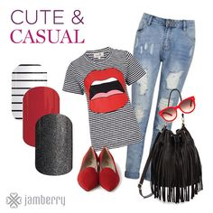 Rock it out cute and casual! #cute #casual #nailart #nailwraps #jamberry #jamberrynails #madeintheusa Old Navy Outfits, Girl Outfits, Cute Outfits, Casual Outfits, Nailart, Jamberry Nail Wraps, Jamberry Style, Signature Style, Casual Looks
